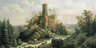 Burg Rötteln, Lithografie von A. Merian, 1828