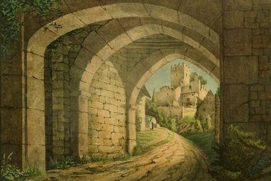 Burg Rötteln, Lithografie von A.Merian, 1828; Foto: Staatliche Schlösser und Gärten Baden-Württemberg, Arnim Weischer
