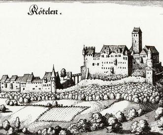 Reproduktion einer Radierung mit dem Motiv von Schloss Rötteln nach Matthäus Merian