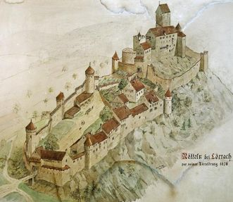 Zeichnung aus dem 20.Jahrhundert von der Burg Rötteln aus der Luft im Zustand vor 1678; Foto: Staatliche Schlösser und Gärten Baden-Württemberg, Arnim Weischer