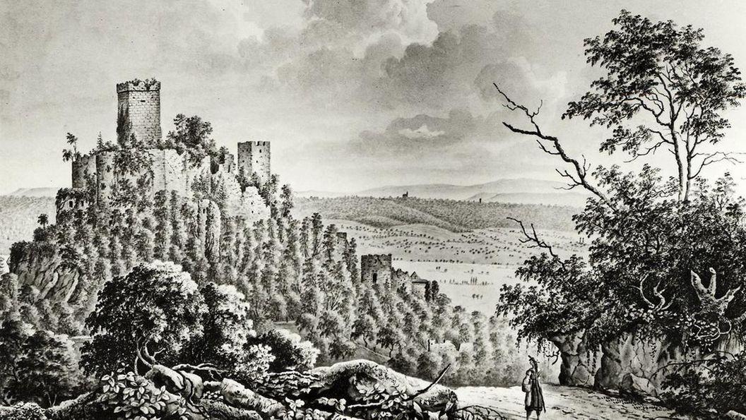 Burg Rötteln, Lithografie nach einer Zeichnung von Maximilian Ring, 1828