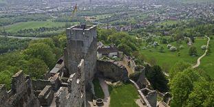 Luftansicht von Burg Rötteln