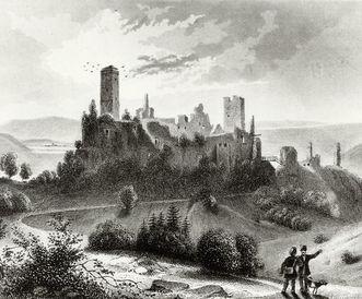 """Burg Rötteln, Stahlstich aus Joseph Bader: """"Badenia oder das badische Land und Volk"""", 1844"""